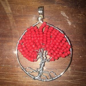 Jewelry - Handcrafted Red Beaded Tree Pendant